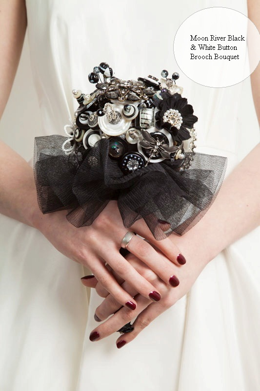 Black Button Brooch Bouquet