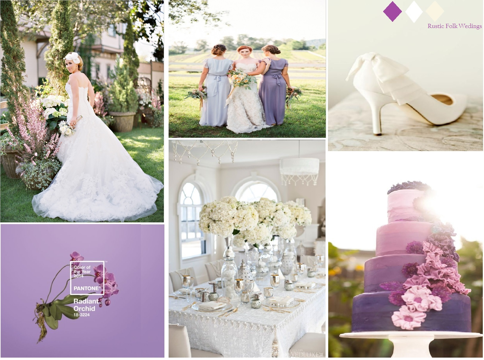 radiant-orchid wedding inspiration board