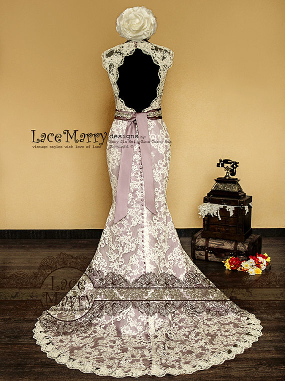 Custom wedding and bridal party dresses by lace marry for Purple lace wedding dress