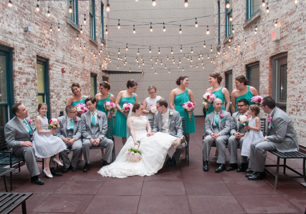 Colorful teal and grey wedding at Hotel Lafayette