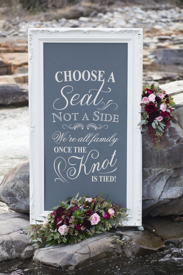 "Rustic chalkboard "" Choose a seat not a side.."" sign - Blush Rocky Mountain Wedding - Melanie Bennett Photography"