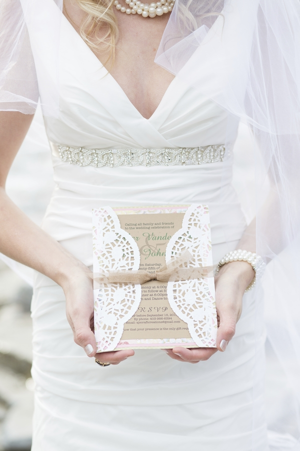 Beautiful kraft and lace wedding invitation