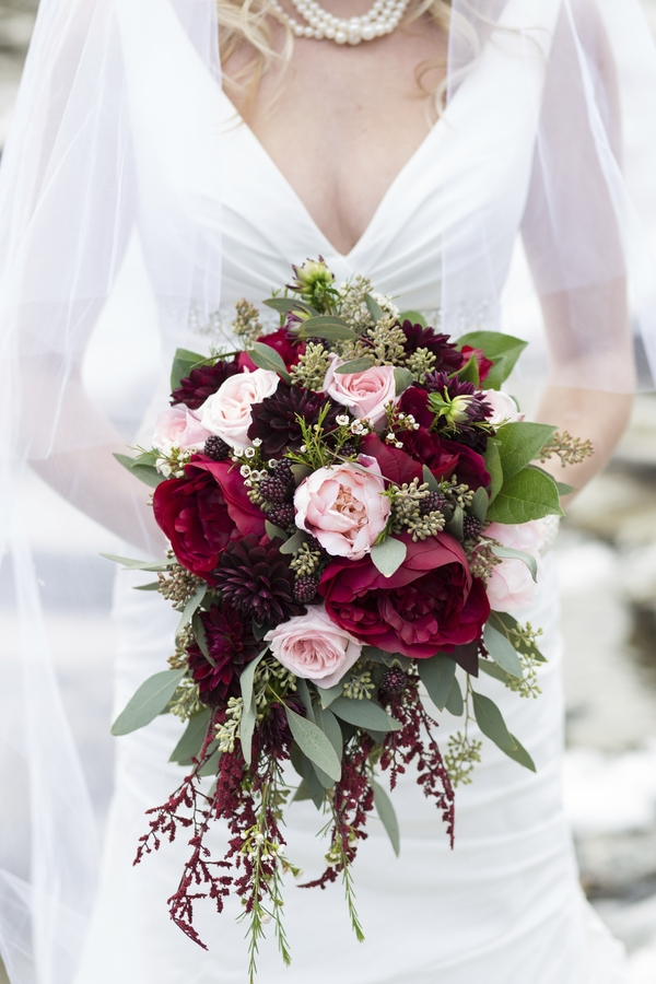 Merlot and blush wedding bouquet