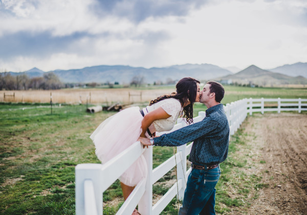 Colorado Foothills Apple Blossom Engagement